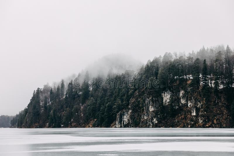 mooi rustig landschap met bevroren bergmeer en bomen op kust bij mist, royalty-vrije stock fotografie