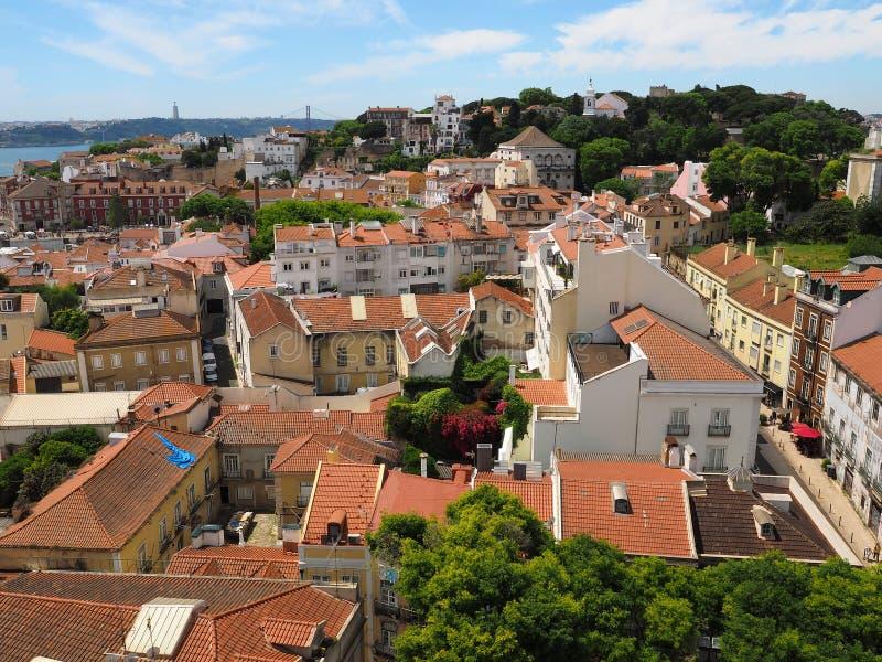 Mooi satellietbeeld over de stad van Lissabon in Portugal stock afbeelding