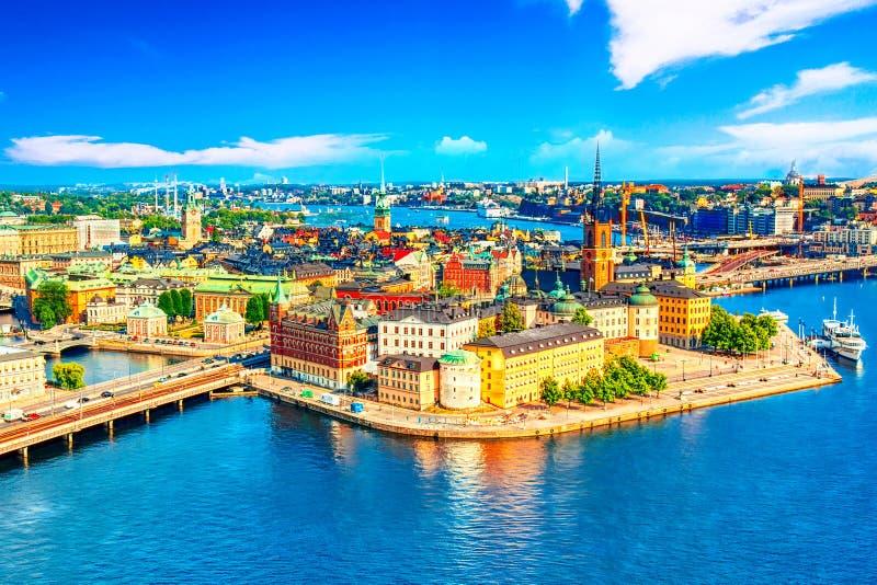 Mooi satellietbeeld van de Oude stad Gamla Stan van Stockholm van de Stad Hall Stadshuset Mooie de zomer zonnige dag in Stockholm stock foto