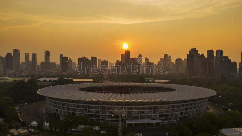 Mooi satellietbeeld van Senayan-Stadion royalty-vrije stock foto