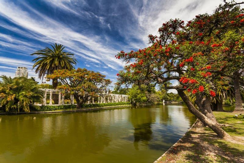 Mooi schilderachtig park op de achtergrond van blauwe hemel stock foto