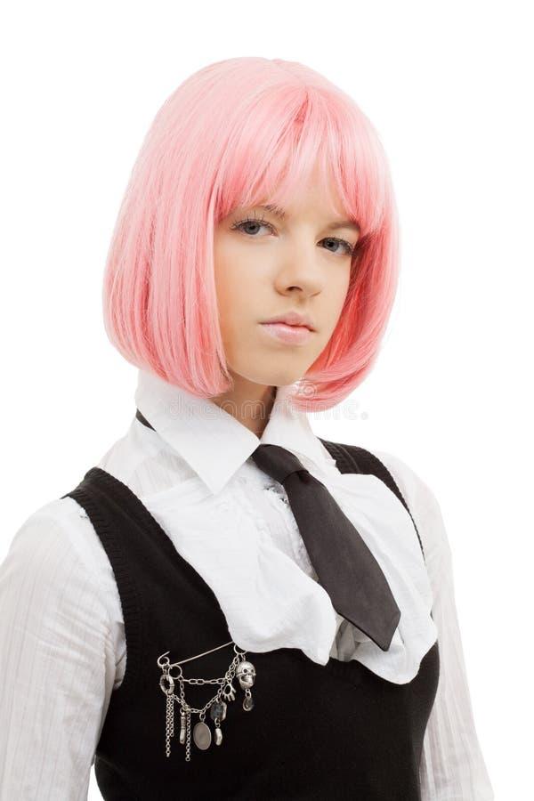 Mooi schoolmeisje met roze haar royalty-vrije stock fotografie