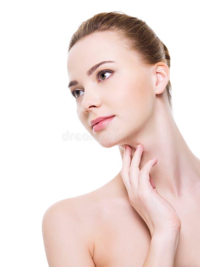 Mooi schoon vrouwengezicht stock afbeeldingen