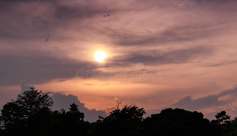 Mooi schot van silhouetbeeld van oranje kleurrijke hemelzonsondergang met achtergrond van bomen stock foto