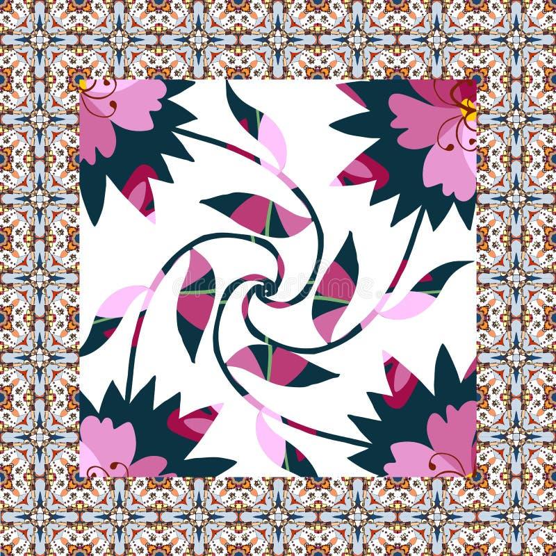 Mooi servet met bloemencaleidoscoop stock illustratie