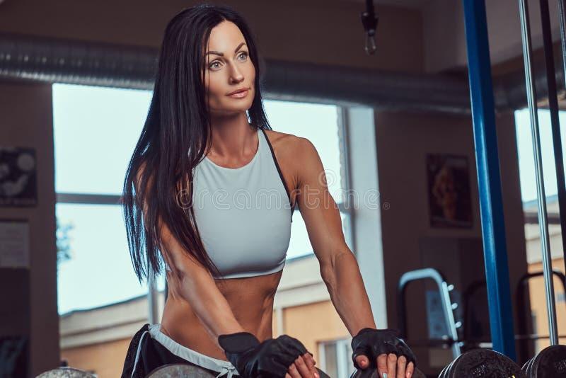 Mooi sexy atletisch donkerbruin wijfje in een sportkleding die zich dichtbij de teller met domoren in de gymnastiek bevinden royalty-vrije stock foto