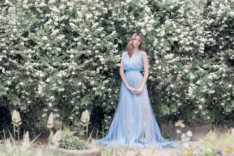 Mooi sexy teder blondemeisje in blauwe lichte kleding met een twijg van jasmijn in zijn handen die de tuin in de stijl zitten stock foto