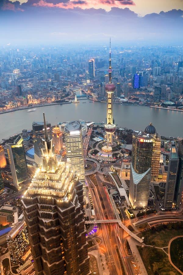 Mooi Shanghai in de avond stock fotografie