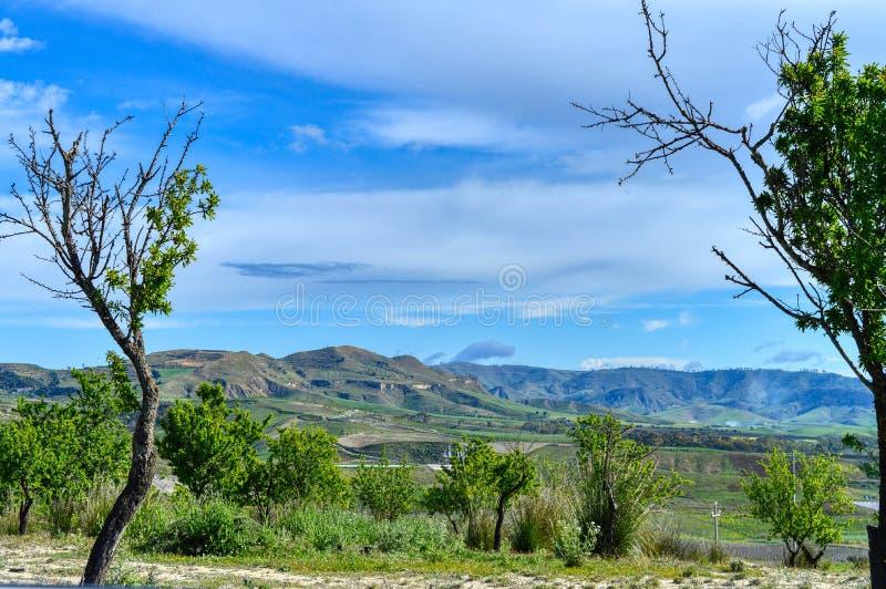 Mooi Siciliaans Landschap, Mazzarino, Caltanissetta, Itali?, Europa royalty-vrije stock foto's