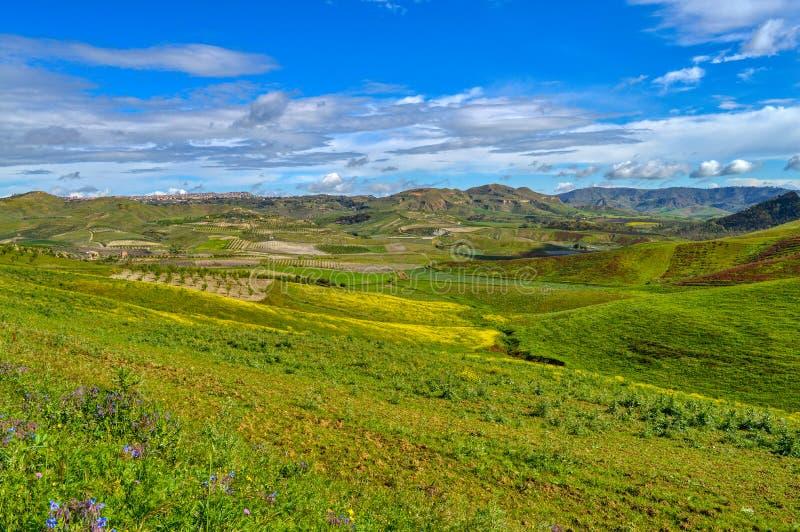 Mooi Siciliaans Landschap, Mazzarino, Caltanissetta, Itali?, Europa stock foto's