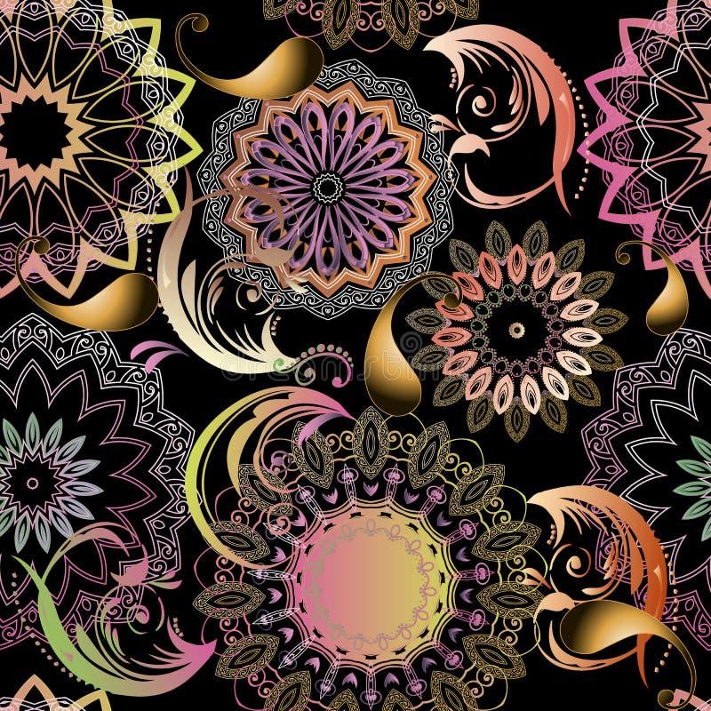 Mooi sier bloemen naadloos mandalaspatroon van Paisley Elegantie kleurrijke gevormde achtergrond Etnische stijl kanten bloemen, stock illustratie