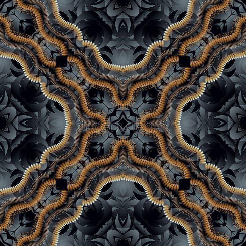 Mooi sier 3d naadloos patroon Moderne gevormde achtergrond Vector illustratie 3D Behang De donkere zwarte herhaalt bloemen vector illustratie