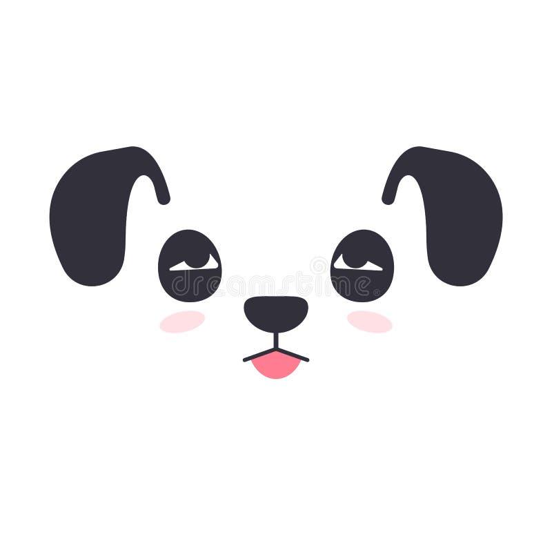 Mooi silhouet van een leuk gezicht van de beeldverhaalhond stock illustratie