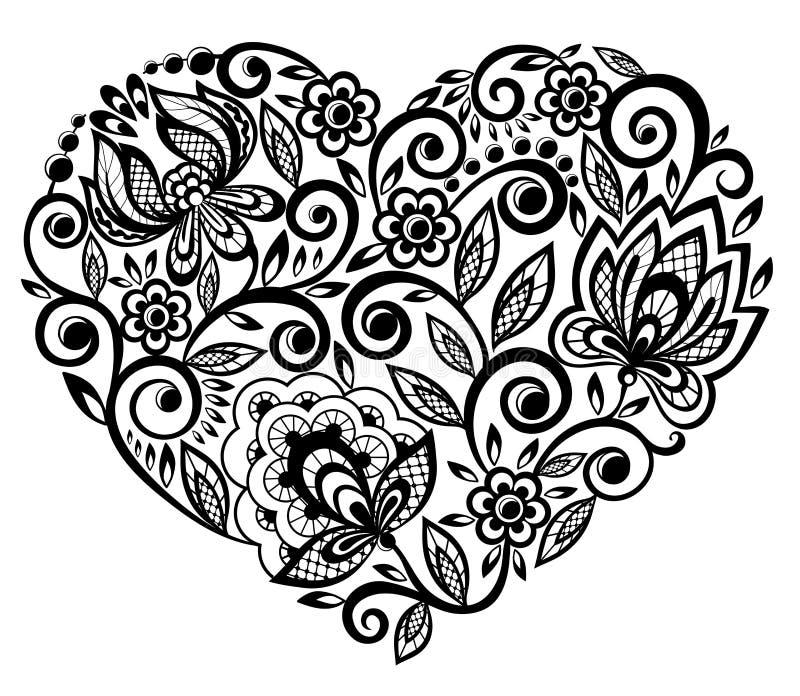 Mooi silhouet van het hart van kantbloemen vector illustratie