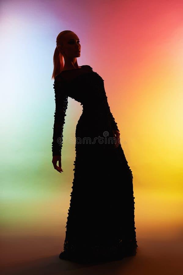 Mooi silhouet van vrouw in avondjurk stock foto's