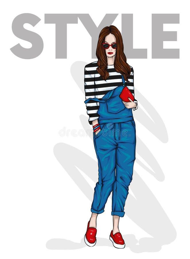 Mooi slank meisje in overall en met een zak Vector illustratie Lang haar Manier en stijl, modieuze blik stock illustratie
