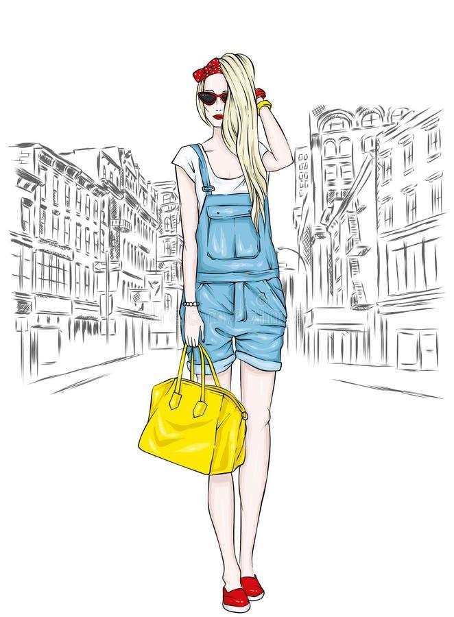 Mooi slank meisje in overallborrels, glazen en met een zak Vector illustratie Lang haar Manier en Stijl royalty-vrije illustratie