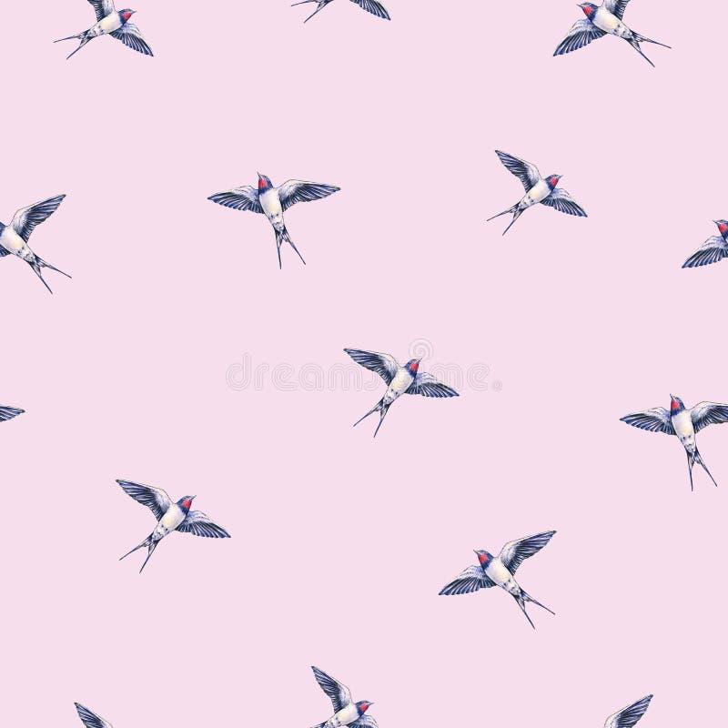 Mooi slik op een roze achtergrond De illustratie van de waterverf De de lentevogel brengt liefde Handwork Naadloos patroon vector illustratie