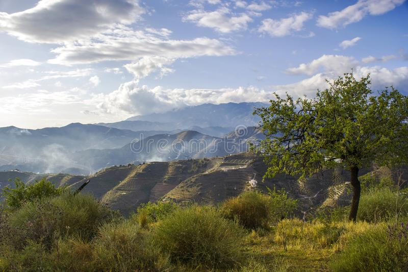 Mooi Spaans andalusia landschap, Sierra DE Almijara stock foto's