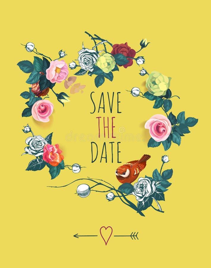 Mooi sparen het malplaatje van het Datumontwerp met slinger van roze bloemen en leuke vogel tegen gele achtergrond Vector royalty-vrije illustratie