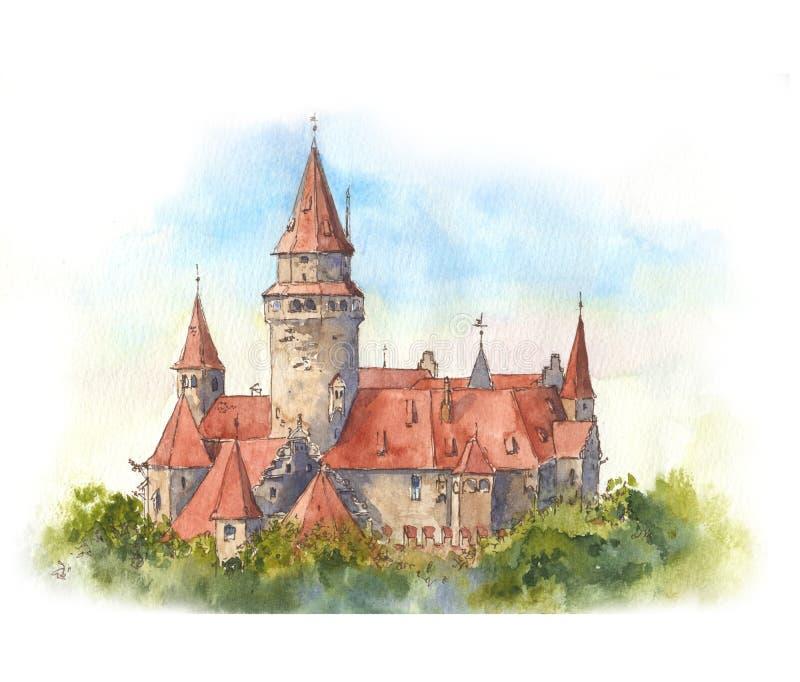 Mooi sprookjekasteel met rode daken Weergeven van het kasteel van ver weg vector illustratie