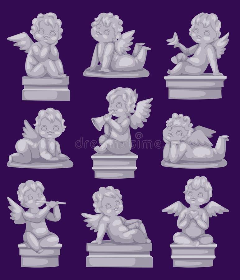 Mooi standbeeld van engel die geïsoleerde marmeren antieke beeldhouwwerk of monumenten en cupido de steendecoratie bidden van het royalty-vrije illustratie