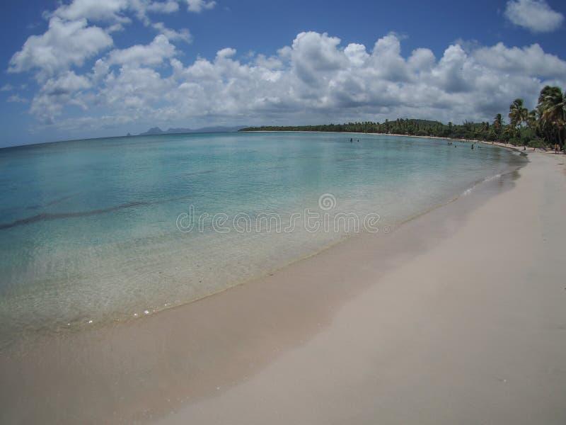 Mooi strand in Martinique, fisheye mening, Frans gebied overzee in de Caraïben stock fotografie