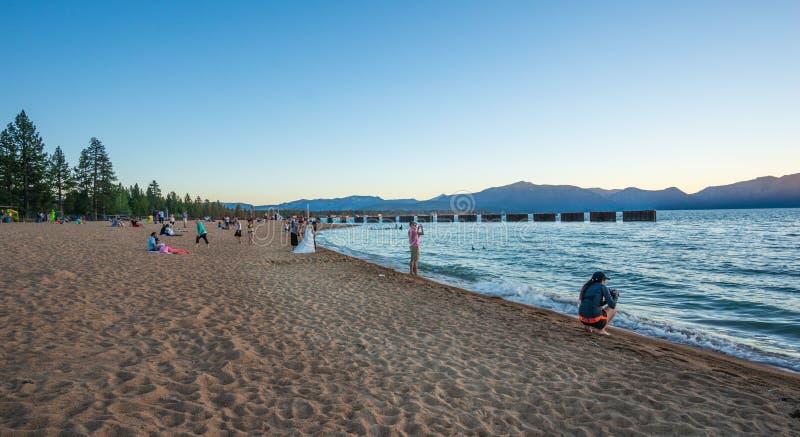 Mooi strand in Meer Tahoe, Californië royalty-vrije stock afbeeldingen