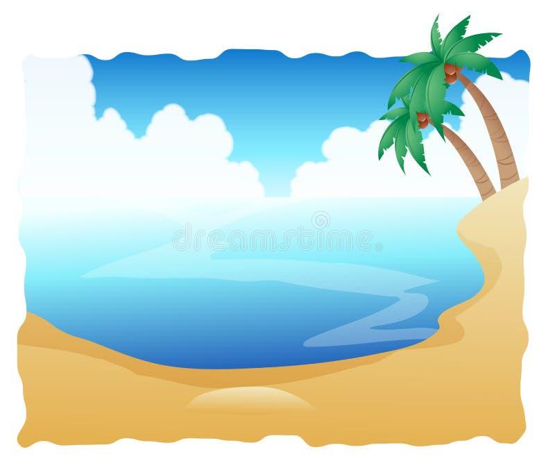 Mooi Strand met Palmen royalty-vrije illustratie