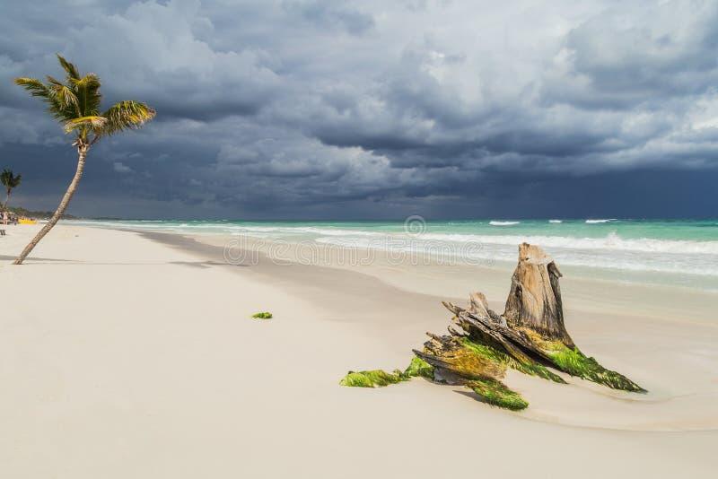 Mooi Strand Onweershemel over het overzees royalty-vrije stock fotografie