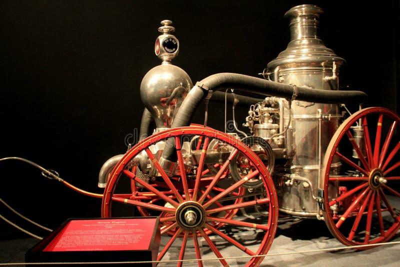 Mooi stuk van brandbestrijdingsgeschiedenis, de 1875 vrachtwagen van de Stoommotor, het Museum van de Staat van Albany, New York, royalty-vrije stock foto's