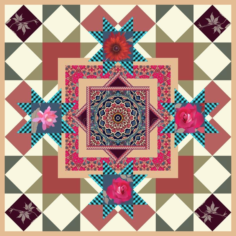 Mooi tafelkleed met bloemmandala, rozen, maagdelijke wijnstokbladeren en sierkader in lapwerkstijl Kussensloop, sjaal royalty-vrije illustratie