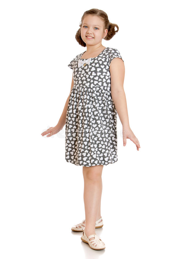 Mooi tienermeisje in korte de zomerkleding royalty-vrije stock afbeelding