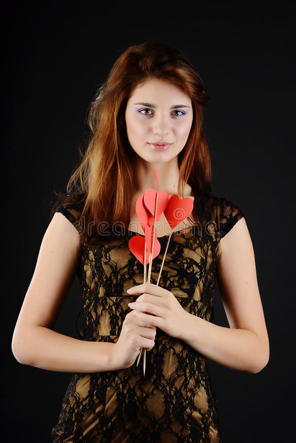 Mooi tienermeisje met hearst royalty-vrije stock foto's