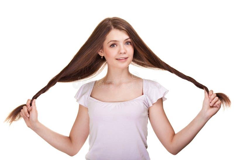 Mooi tienermeisje met lange haren stock afbeelding