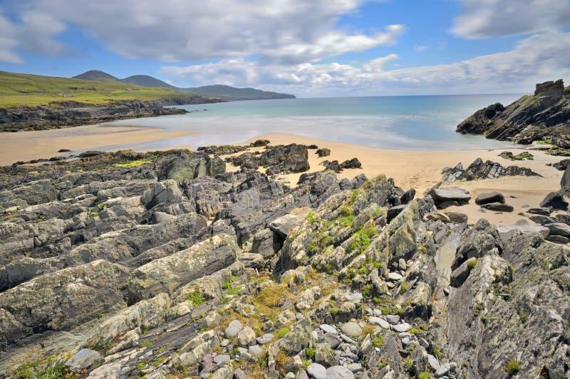 Mooi toneel landelijk landschap van Ierland stock afbeeldingen