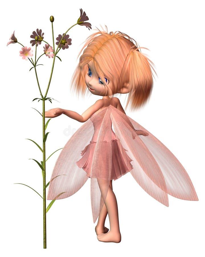 Mooi Toon Fairy met Roze Bloemen stock foto's