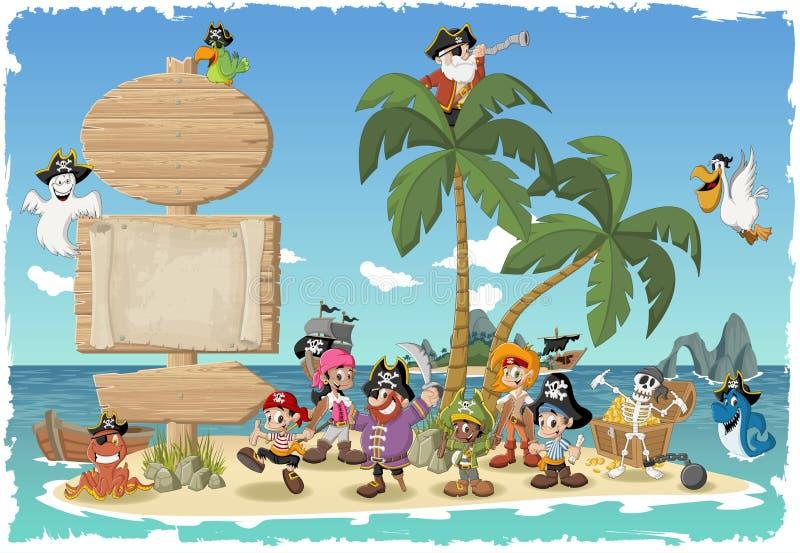Mooi tropisch eiland met beeldverhaalpiraten royalty-vrije illustratie