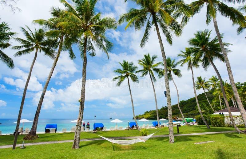 Mooi tropisch strand bij exotisch eiland stock fotografie
