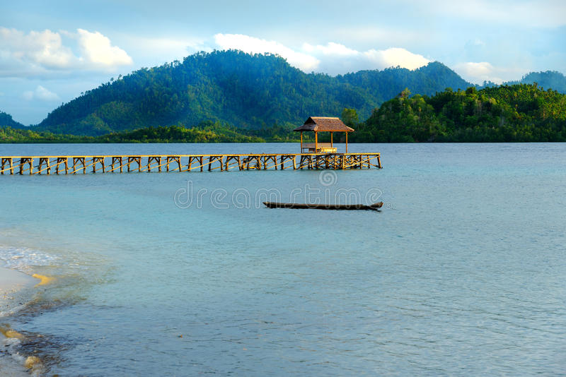 Mooi tropisch strand en houten dok royalty-vrije stock foto