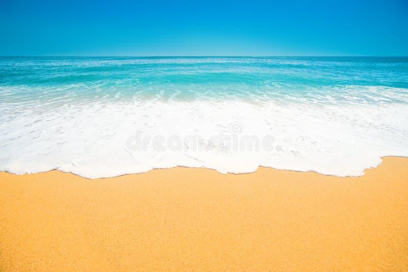 Mooi Tropisch strand met Zachte golf van blauwe oceaan, zand en stock fotografie