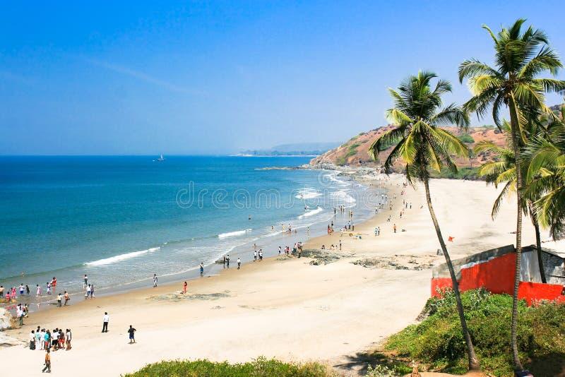 Mooi Tropisch strand in Vagator, India stock foto