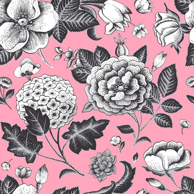 Mooi uitstekend bloemen naadloos patroon. vector illustratie