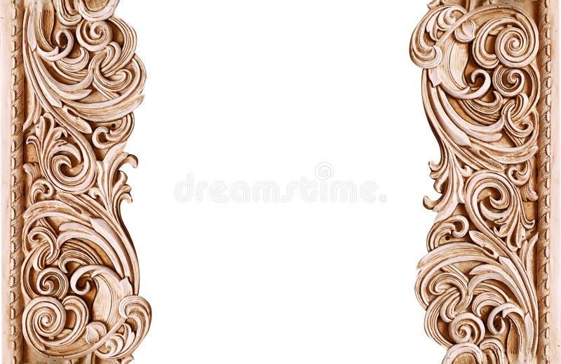 Mooi uitstekend houten die kader op witte achtergrond met ruimte voor tekst wordt geïsoleerd stock afbeelding
