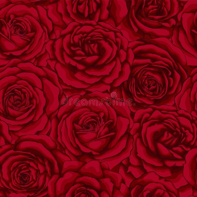 Mooi uitstekend naadloos patroon met rode rozen royalty-vrije illustratie