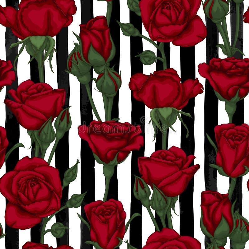Mooi uitstekend naadloos patroon met rosebuds, bladeren en stammen op zwart-witte waterverfstrepen vector illustratie