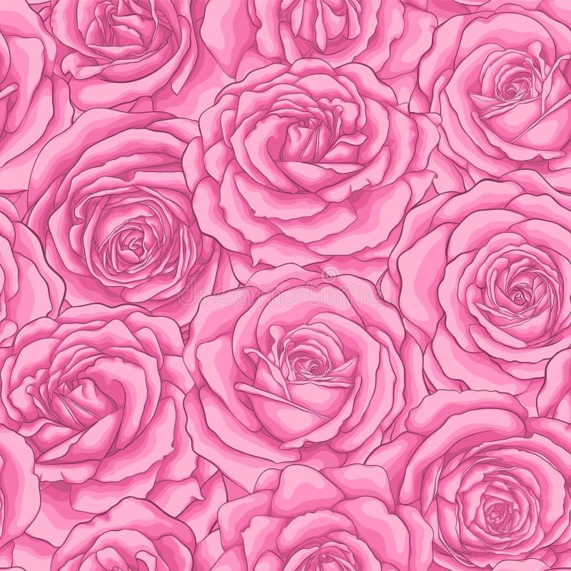 Mooi uitstekend naadloos patroon met roze rozen royalty-vrije illustratie