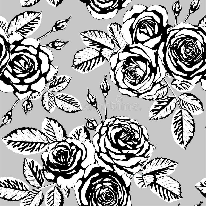 Mooi uitstekend naadloos patroon met zwart-wit vector illustratie