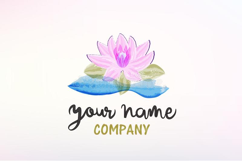 Mooi van de de decoratiewaterverf van de lotusbloembloem het embleem vectorbeeld stock illustratie