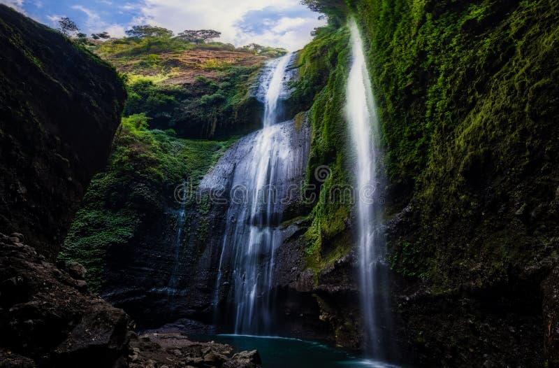 Mooi van madakaripura is de waterval, dit de langste waterval in Java, tweede langste waterval in Indonesië royalty-vrije stock afbeelding